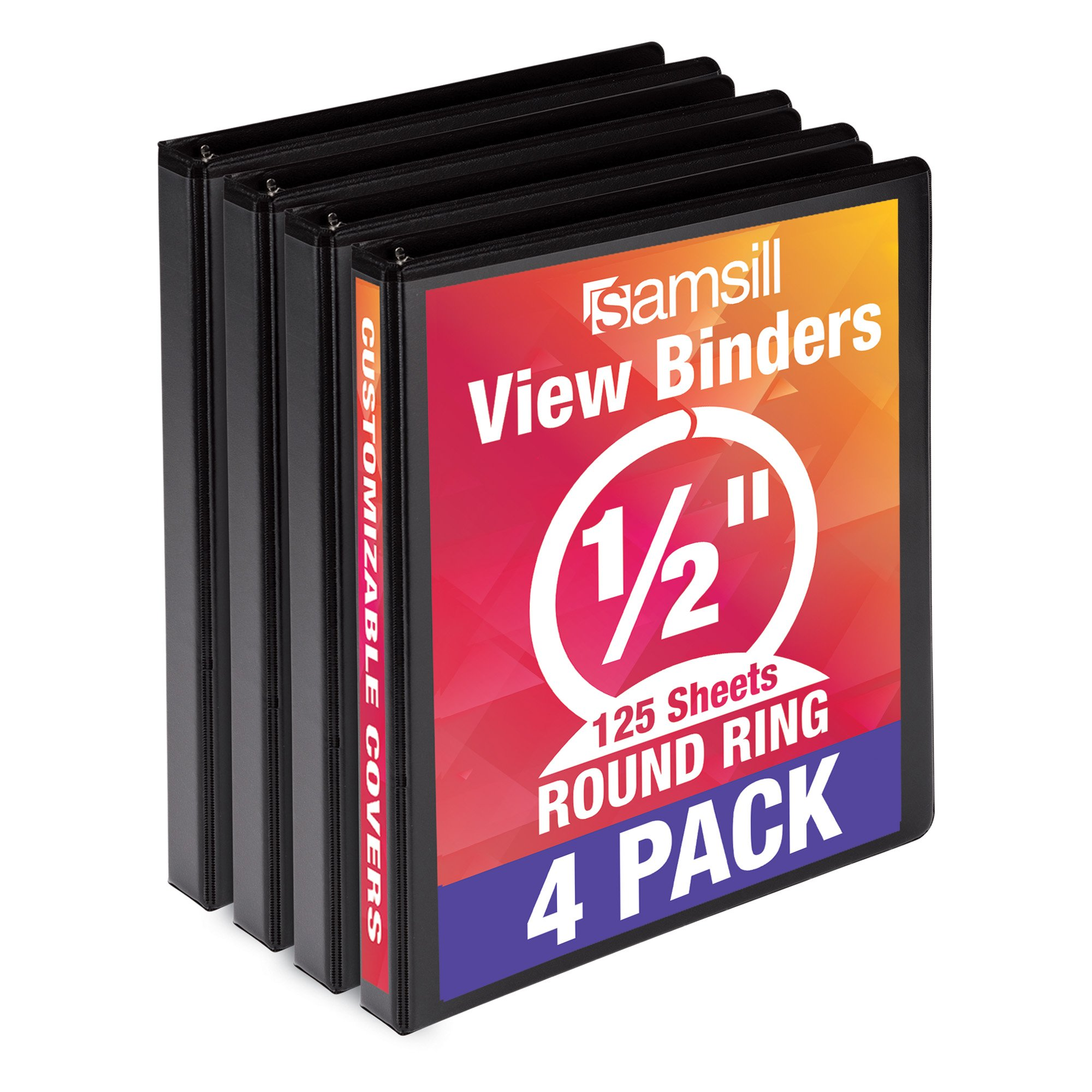 Samsill Economy 3 Ring View Binder.5 inch Round Ring – Holds 125 Sheets, PVC-Free/Non-Stick Customizable Cover, Black, 4 Pack