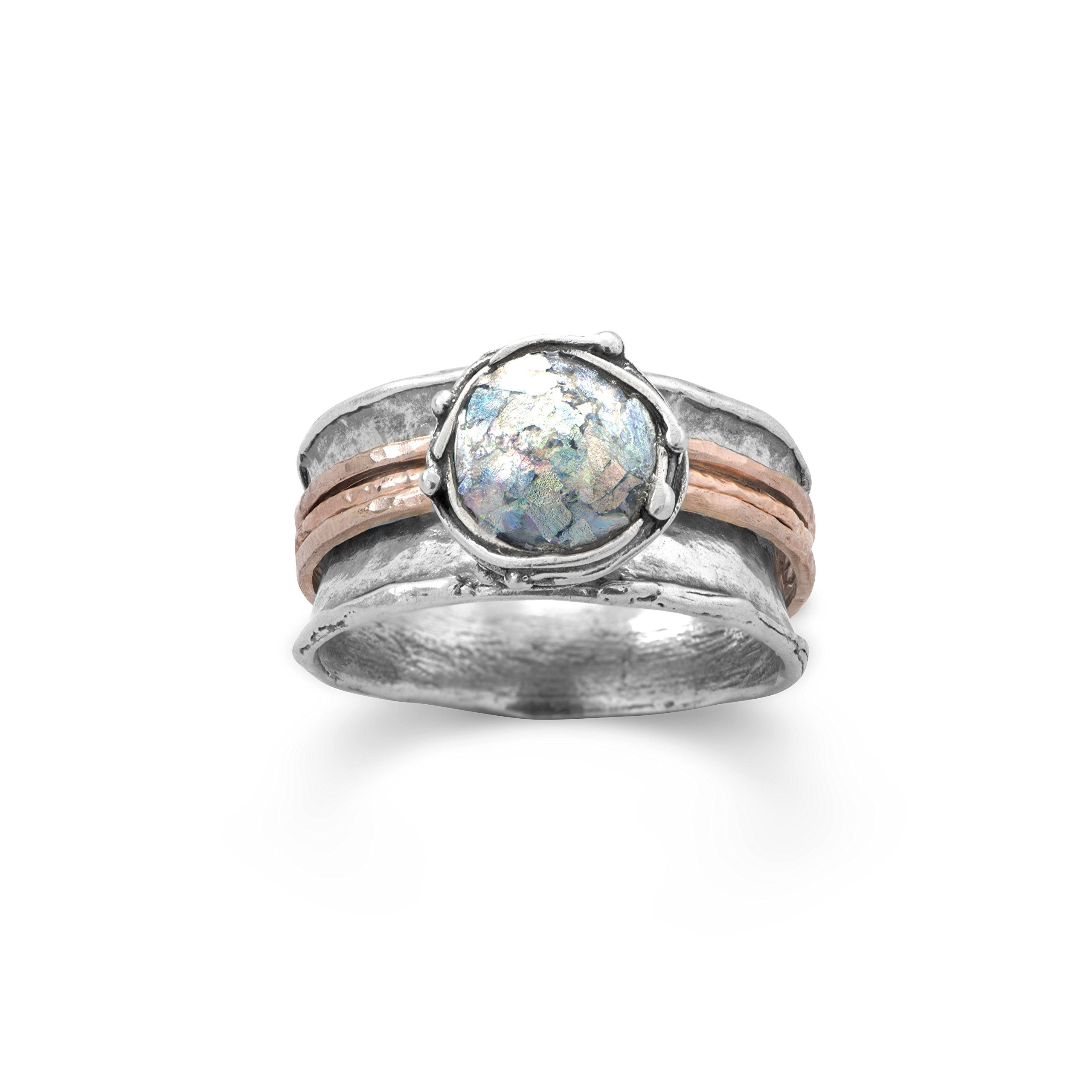 Ancient Roman Glass Ring Round with Rose Gold-plated Bands Sterling Silver by Roman Glass Company