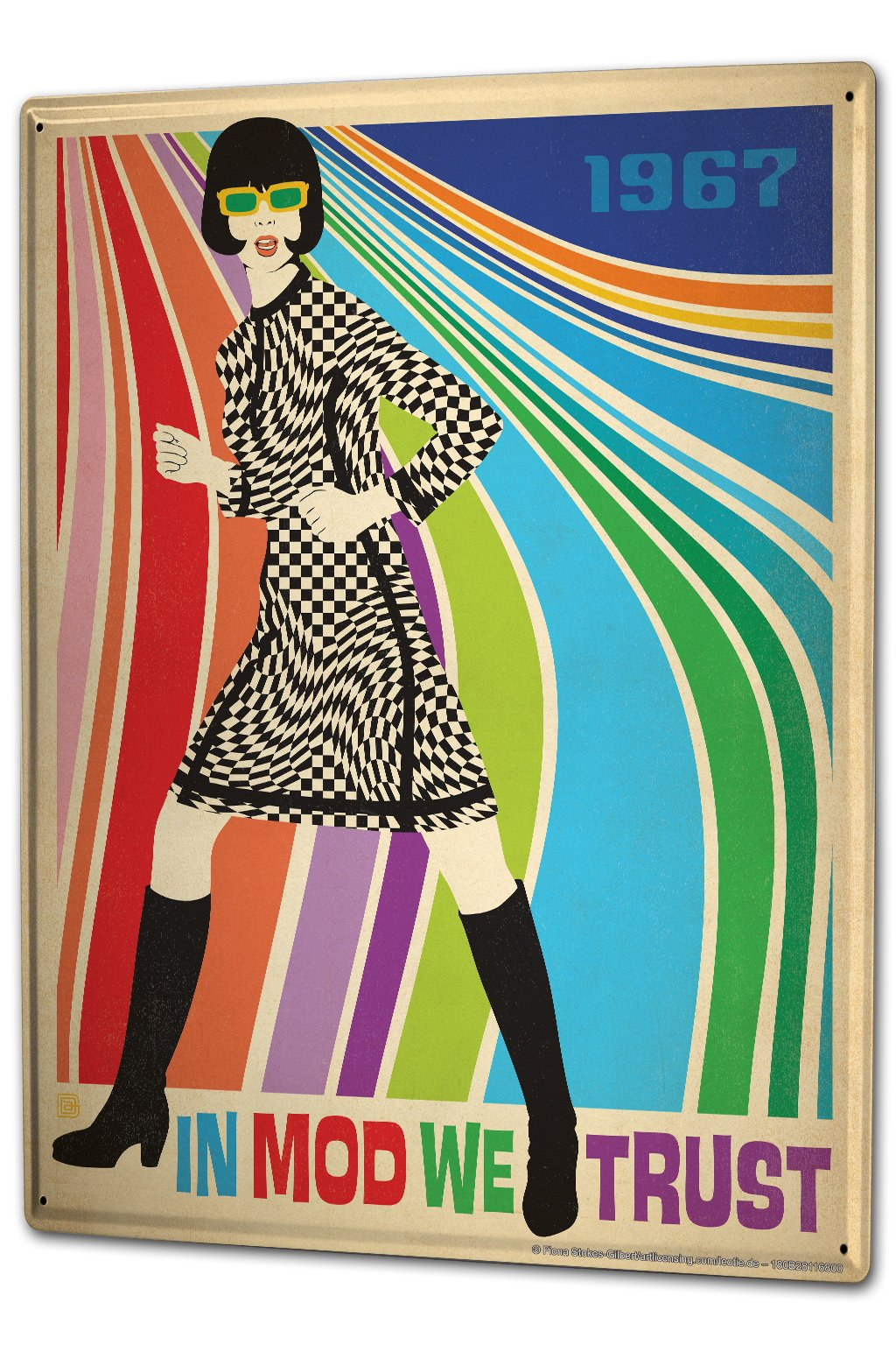 Tin Sign XXL Retro In mod we trust women dress plaid colorful stripes 1967