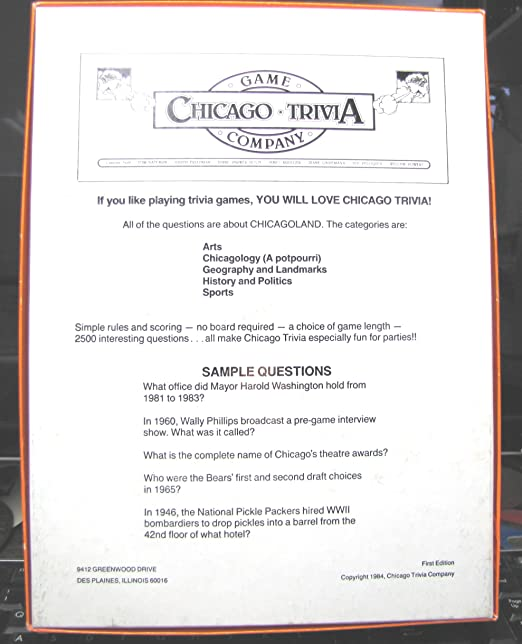 Amazon com: Chicago Trivia Game by Lawrence Allen Palmerson: Toys