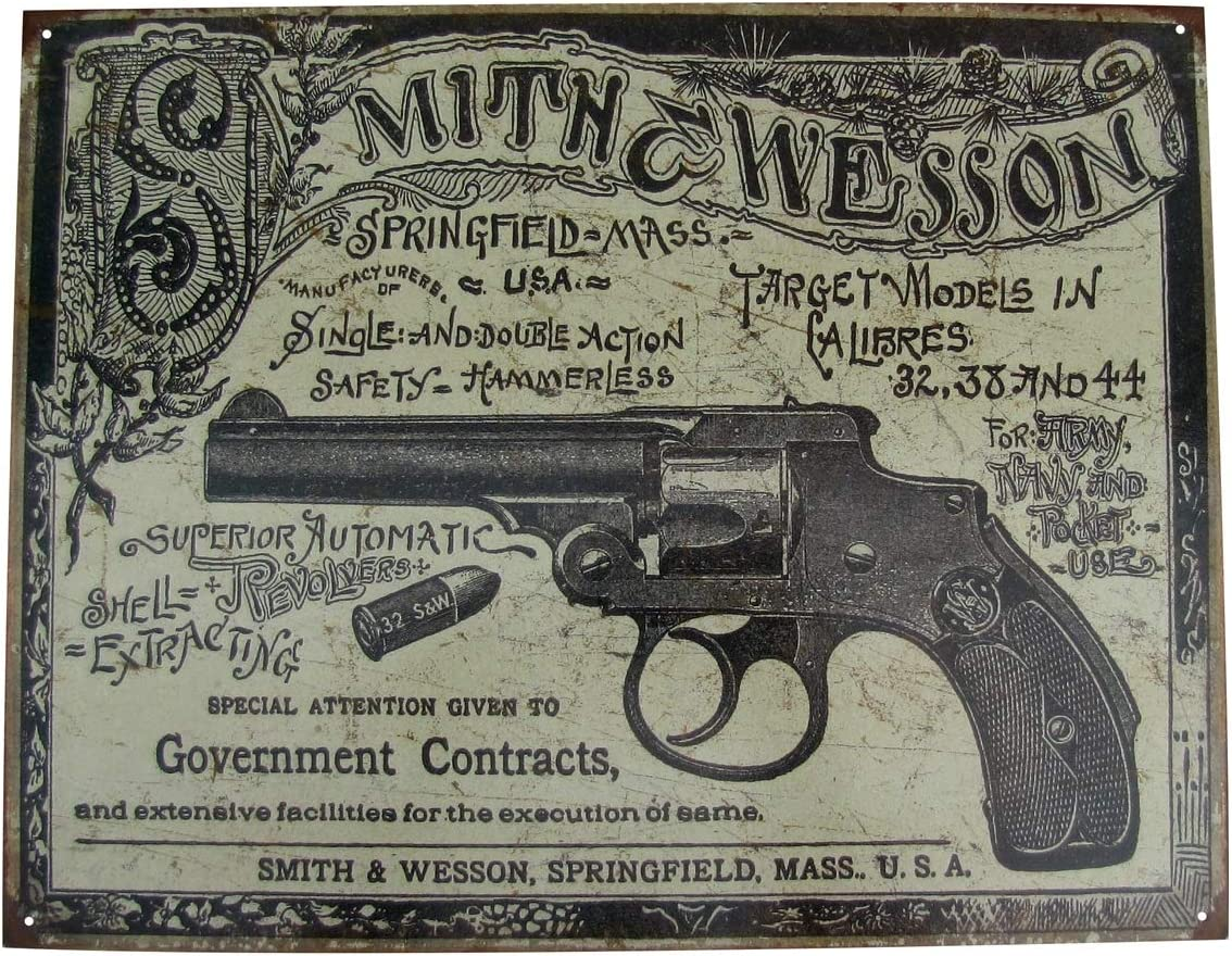 TG,LLC Treasure Gurus Vintage Style Smith&Wesson Revolver Gun Ad US Made Metal Sign Bar Pub Wall Decor