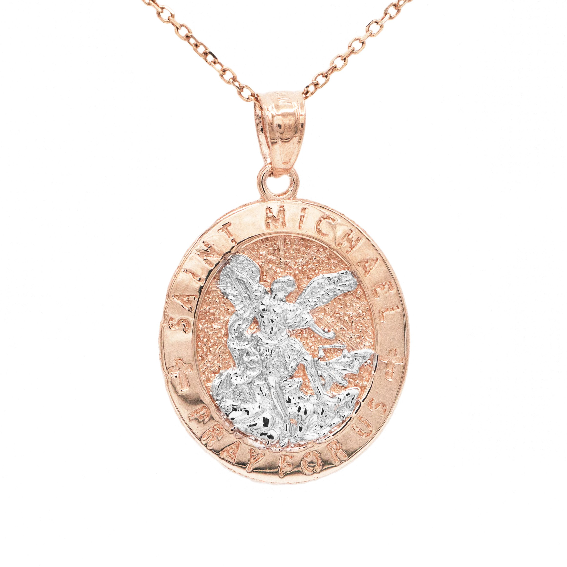 10k Solid Rose Two Tone Gold Oval Frame Saint Michael Pray For Us Medallion Necklace (20'' Mariner Chain Dipped in Holy Water) by Ice on Fire Jewelry (Image #1)