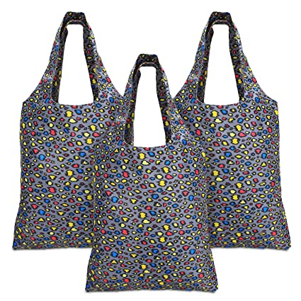 LUXJA Reusable Grocery Bags Set of 3, Foldable Shopping Bags with Attached Pouch, Washable, Durable and Lightweight, Colorful Spots