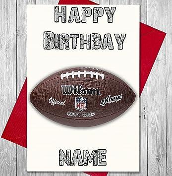 American Football - Balón de fútbol americano - Tarjeta de felicitación de cumpleaños personalizada - cualquier nombre y edad impreso en la parte delantera: ...