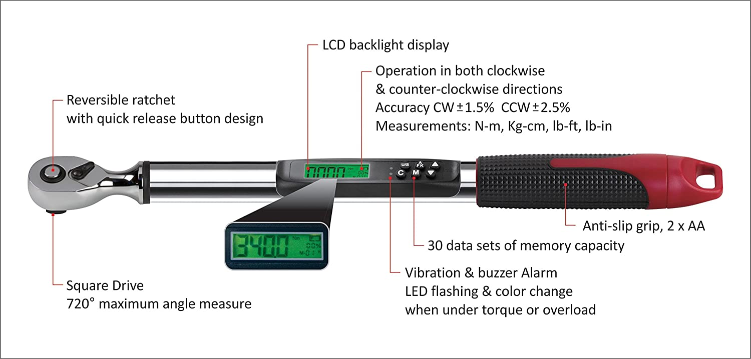 """Vibration /& LED Light ARM317-4A Durofix 17-7//8/"""" Length Audible Notification Buzzer Inch 99.5 ft-lbs Range of Torque Measures 5.0 ACDelco Tools 1//2 Compact Angle Digital Torque Wrench LCD Display"""