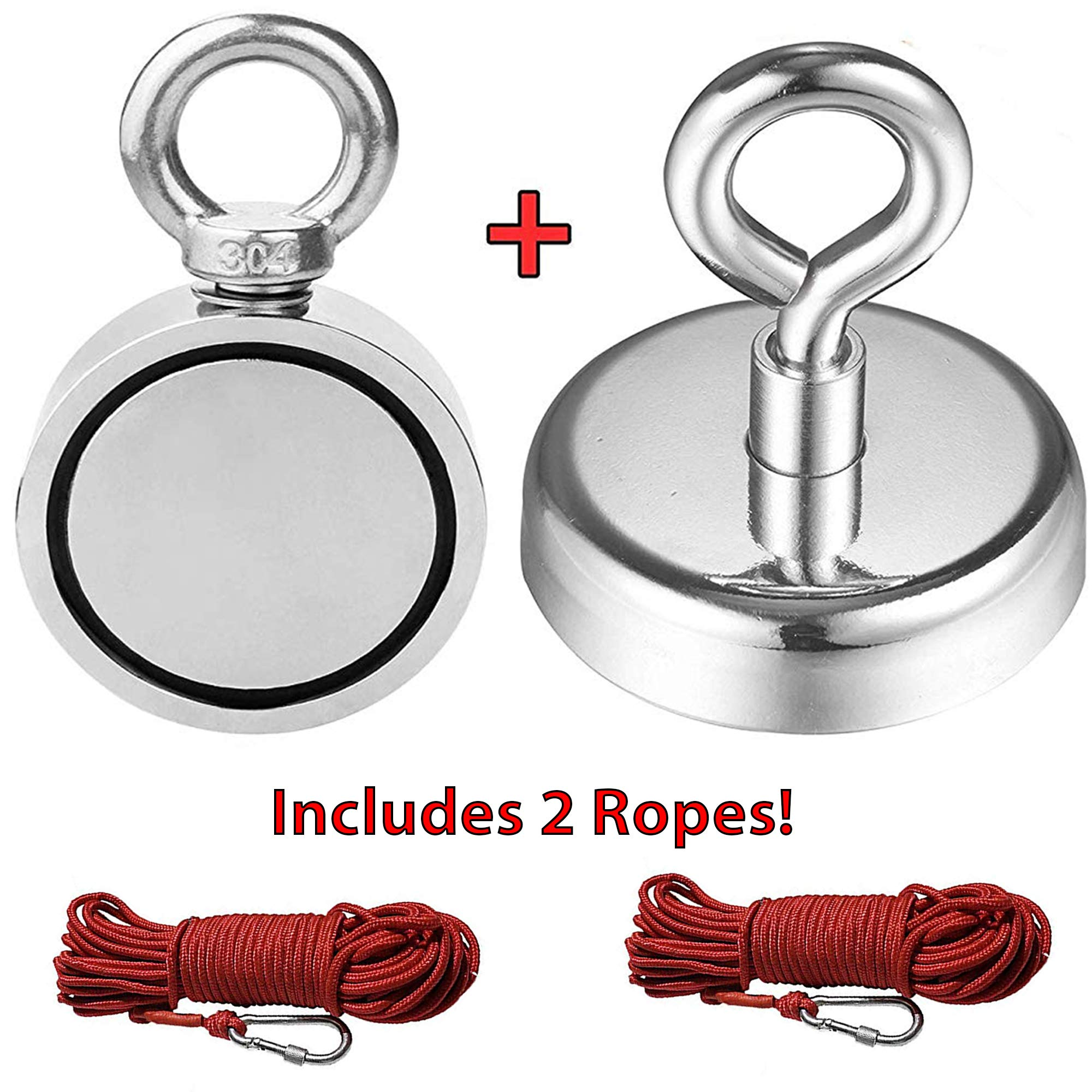 Sarabi.K Magnet Fishing Kit: 1) 529LB Combined Double Sided Magnet, 1) 264LB Single Sided Magnet and 2) Magnet Fishing Rope (65FT) - Perfect Magnet for Fishing, Retrieving and Gifts