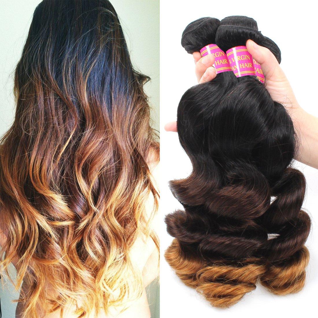 Allove Hair 8a Ombre Brazilian Loose Wave 3 Bundles14 16 18 Virgin