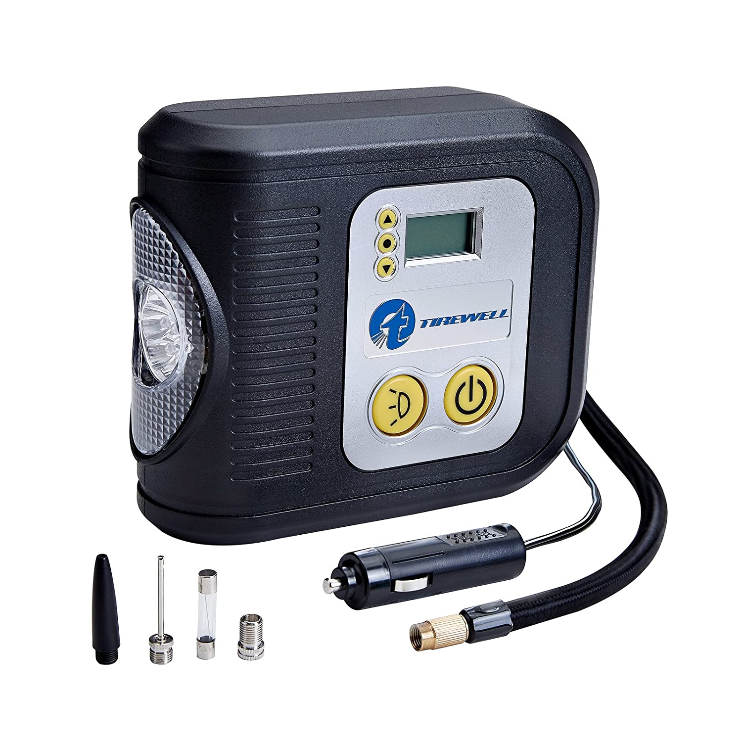 TIREWELL 12V Tire Inflator, Digital Portable Air Compressor, Auto Shut Off Tire Pump with LED Light and 3 Nozzles JF 48