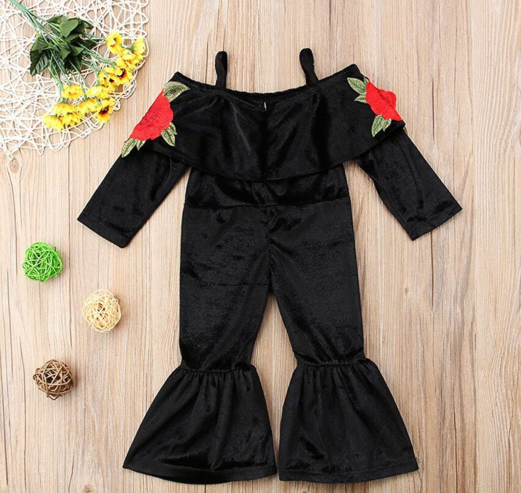 Baby Girls Off Shoulder 3D Rose Flower Embrodidery Applique Romper Halter Jumpsuit Bell-Bottomed Overalls Pants Outfits