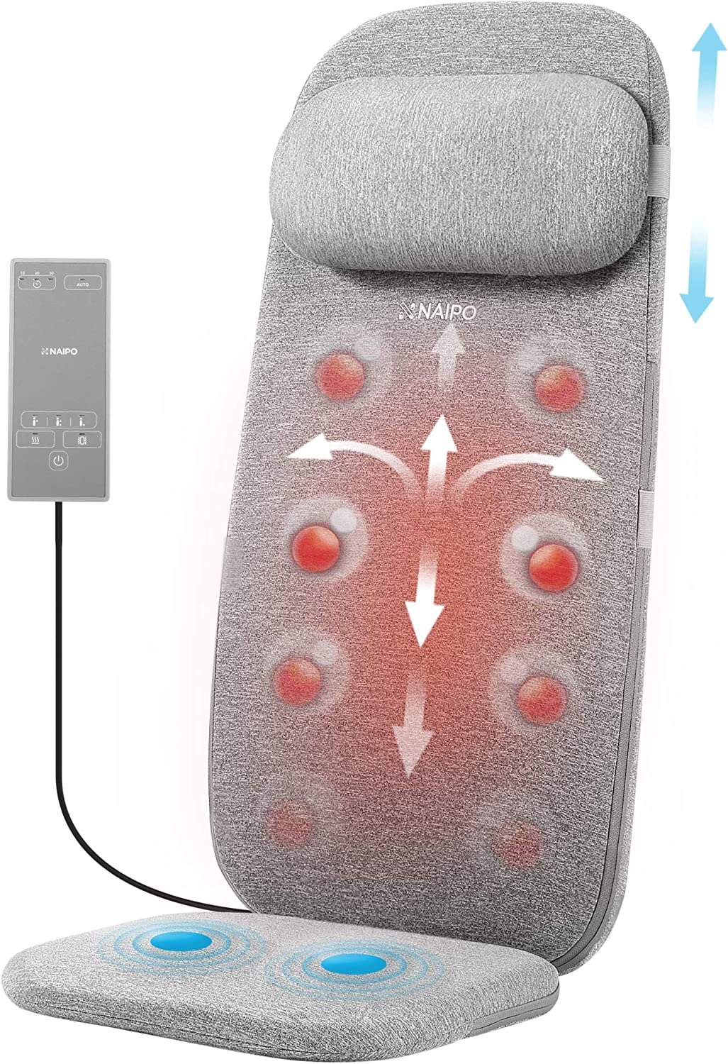 Naipo Shiatsu Massage Cushion with Heat and Vibration, Massage Chair Pad to Relax Full Back, Shoulders, Lumbar and Thighs, Stable and Portable Back Massager Mat for Home, Office Use, Grey