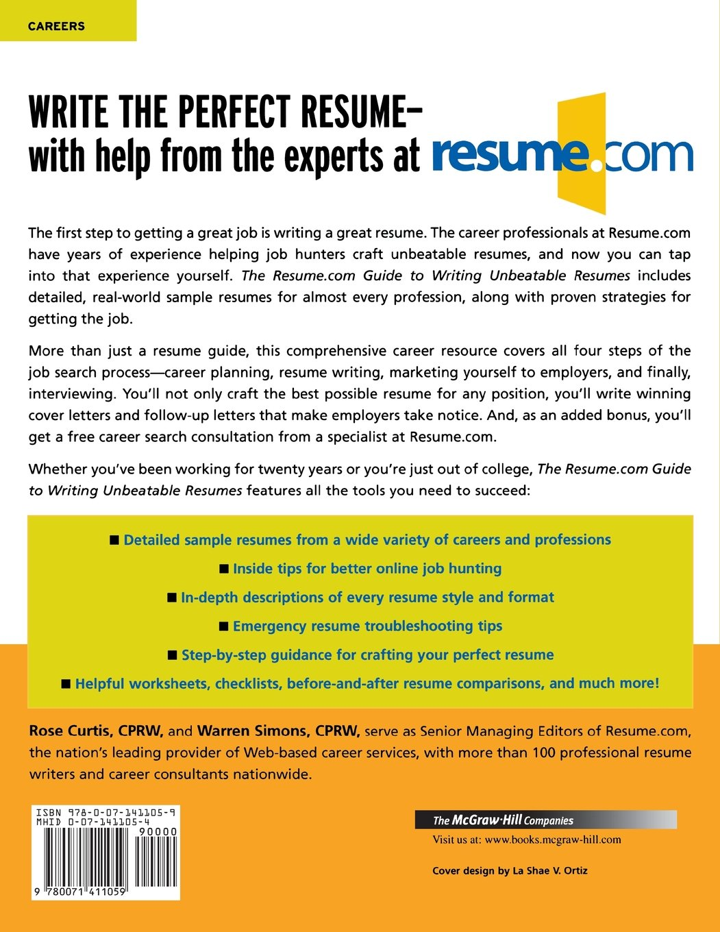 com guide to writing unbeatable resumes warren simons rose curtis 9780071411059 amazoncom books - How To Make The Best Resume Possible