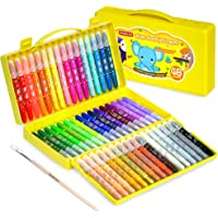 48 Colors Gel Crayons for Toddlers, Shuttle Art Non-Toxic Twistable Crayons Set with 1 Brush and Foldable Case for Kids…