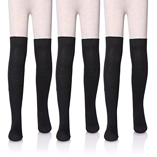 822f9e7c5 LANLEO 3 4 Pairs Girls School Uniform Over Knee High Warm Cotton Socks 3-