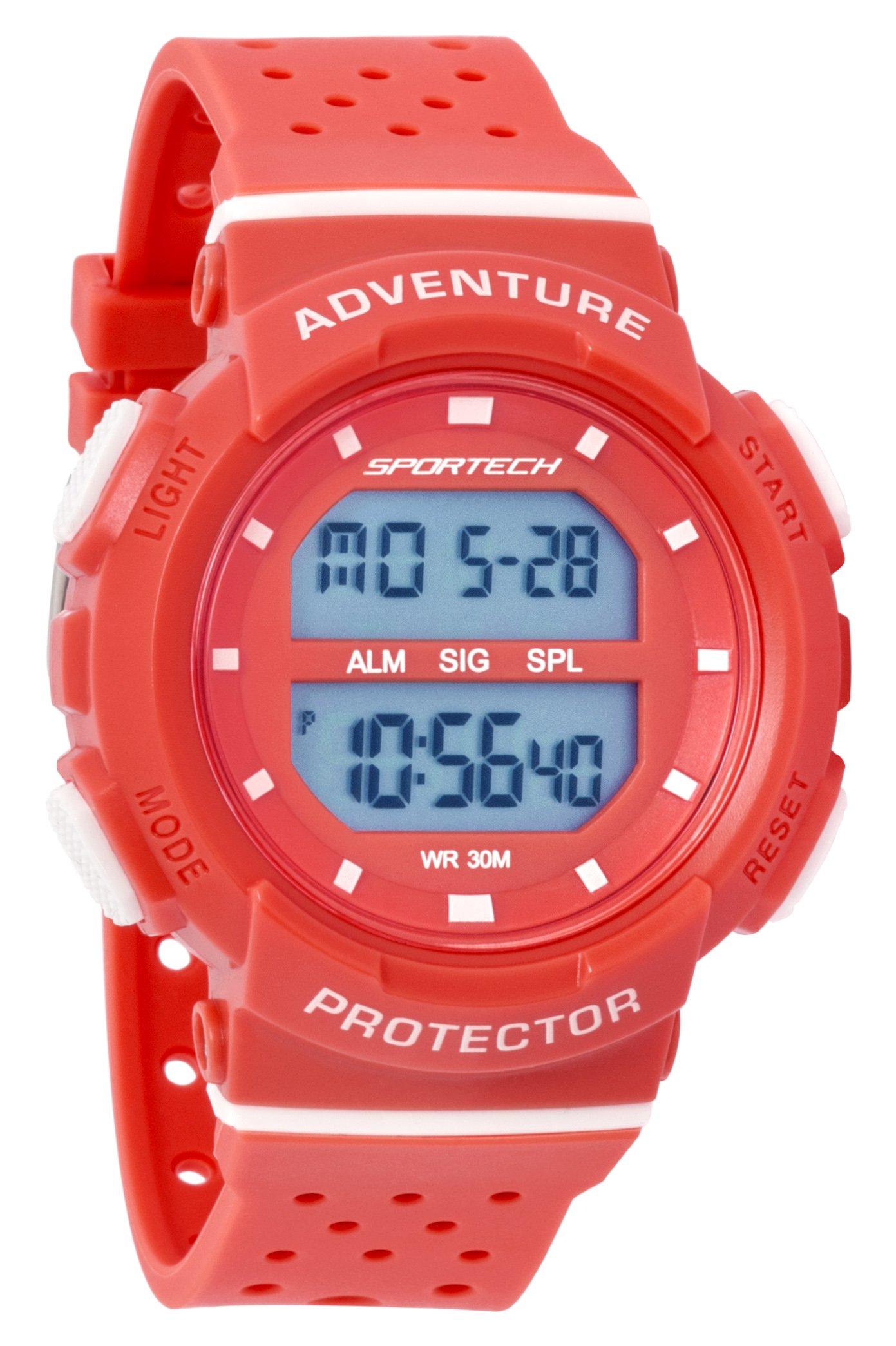 SPORTECH Women's/Girls' | Red & White Digital Water-Resistant Sports Watch | SP12703 by Sportech