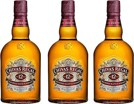 Chivas Regal 12 años Blended Scotch Whisky 3er Set, Whiskey, Schnaps, Spirituose, Alcohol, Botella, 40%, 3 x 1 L
