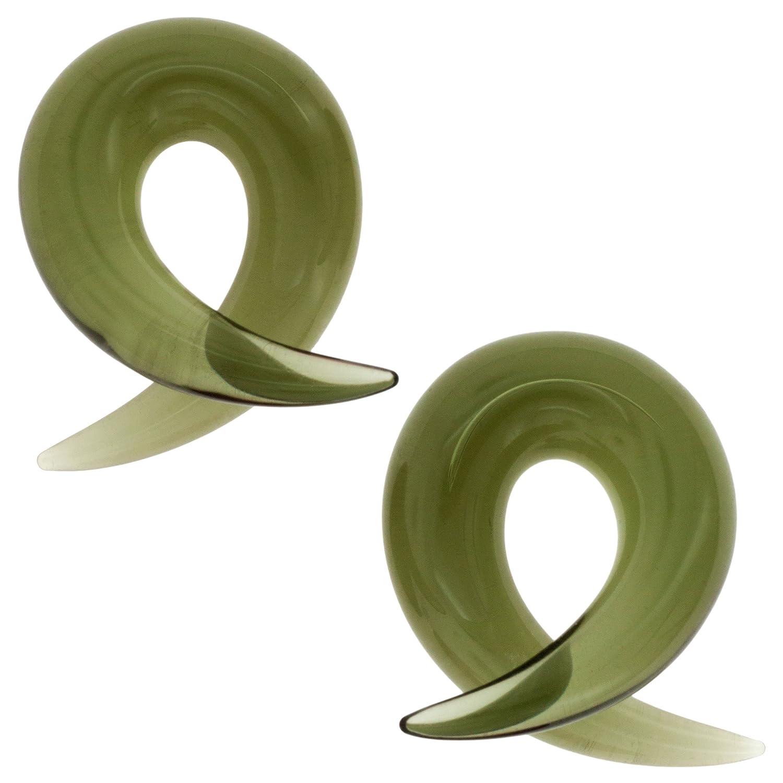 Pair of Glass Barbs 00g Smoke Gorilla Glass 33-PAIR-BRB-00-SM-PO