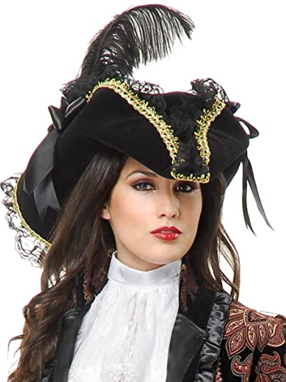 Women's Gorgeous Lacey Black Tricorn Pirate Hat Trimmed with Gold Braid and Accented with Black Lace, a Black Ostrich Plume, and Two Large Black Satin Ribbon Bows by Charades