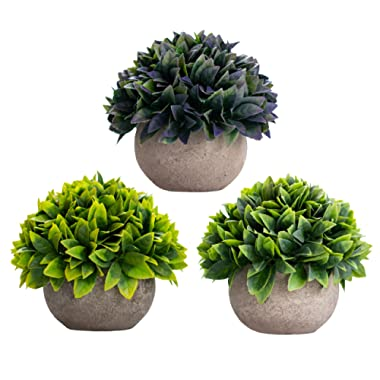 3 Piece - Artificial Fake Plants Decor - Small Faux Succulent Cactus Plant Tree Decorations For Rustic Home, Wall, Bedroom, Bathroom, Farmhouse, Mantle Shelf, Living Room, Kitchen, House, Indoor Pot