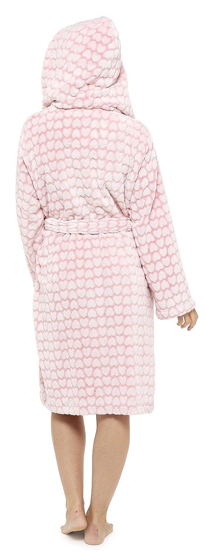 Nightwear Heaven Ladies Heart Fleece Dressing Gown Robe Embossed Luxury Print Shawl Pink Grey Size UK 8 10 12 14 16 18 20 22