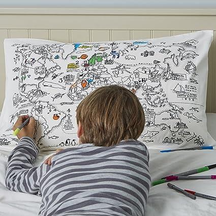 Amazon.com: Doodle World Map Pillowcase, Color Your Own Pillow Case ...