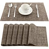 Vivi&Stitch Wipeable Placemats, 6 Pack Table Placemats, Easy to Clean Heat-Resistant Stain Resistant Anti-Skid Woven Vinyl PV