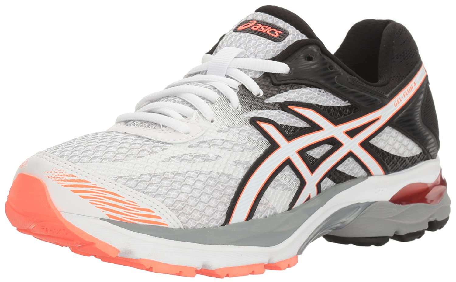 White Snow Flash Coral ASICS Womens Gel-Flux 4 Running shoes