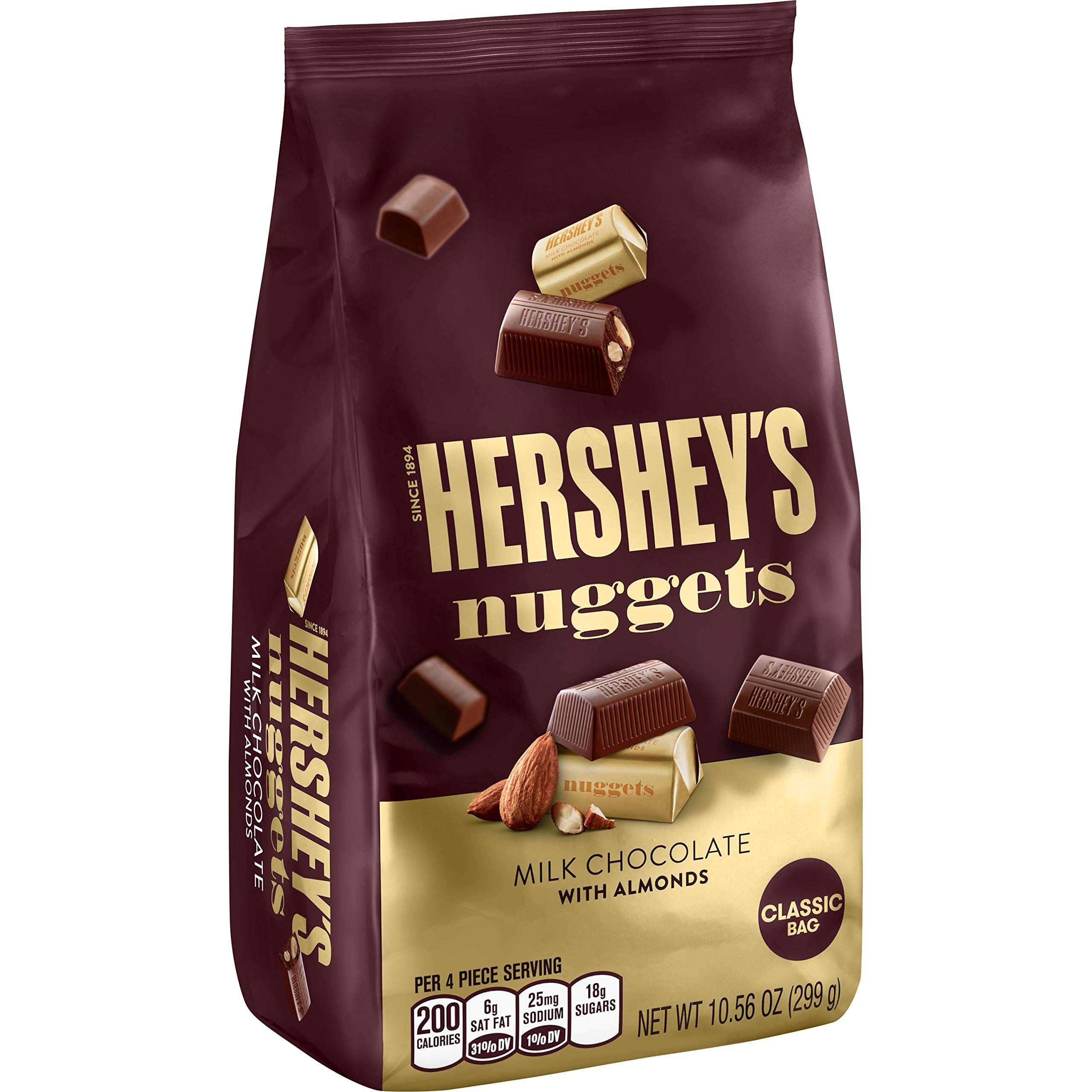 HERSHEY'S Nuggets Chocolate Candy with Almonds, 10.56 Ounce
