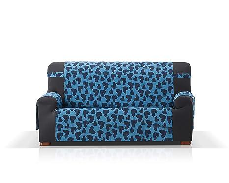 JM Textil Agatha Ruiz de la Prada Cubre Sofa Cuore, tamaño 3 plazas (160cm), Color Azul