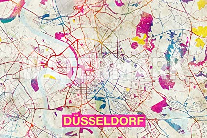 Map Of Germany Showing Dusseldorf.Amazon Com Dusseldorf Germany Artistic Modern Map Original