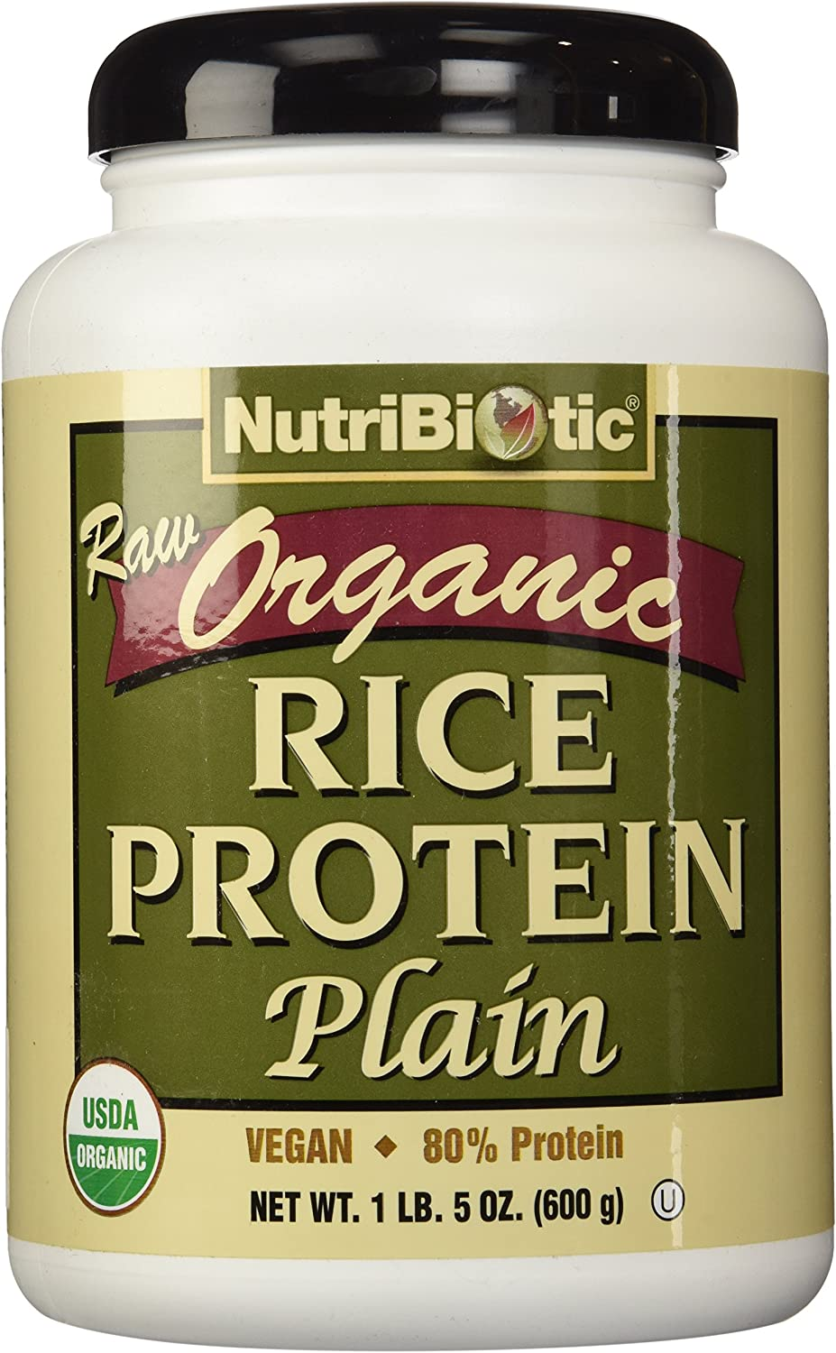 NutriBiotic Certified Organic Rice Protein Plain| 21 Ounce| Low Carbohydrate Vegan Protein Powder |Non-GMO| Gluten Free| Raw| Chemical-free Processing| Certified Kosher Keto Friendly| Easy to Digest: Health & Personal Care