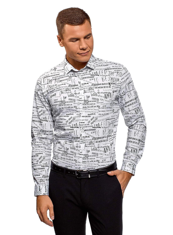 oodji Ultra Hombre Camisa de Algodón con Inscripciones