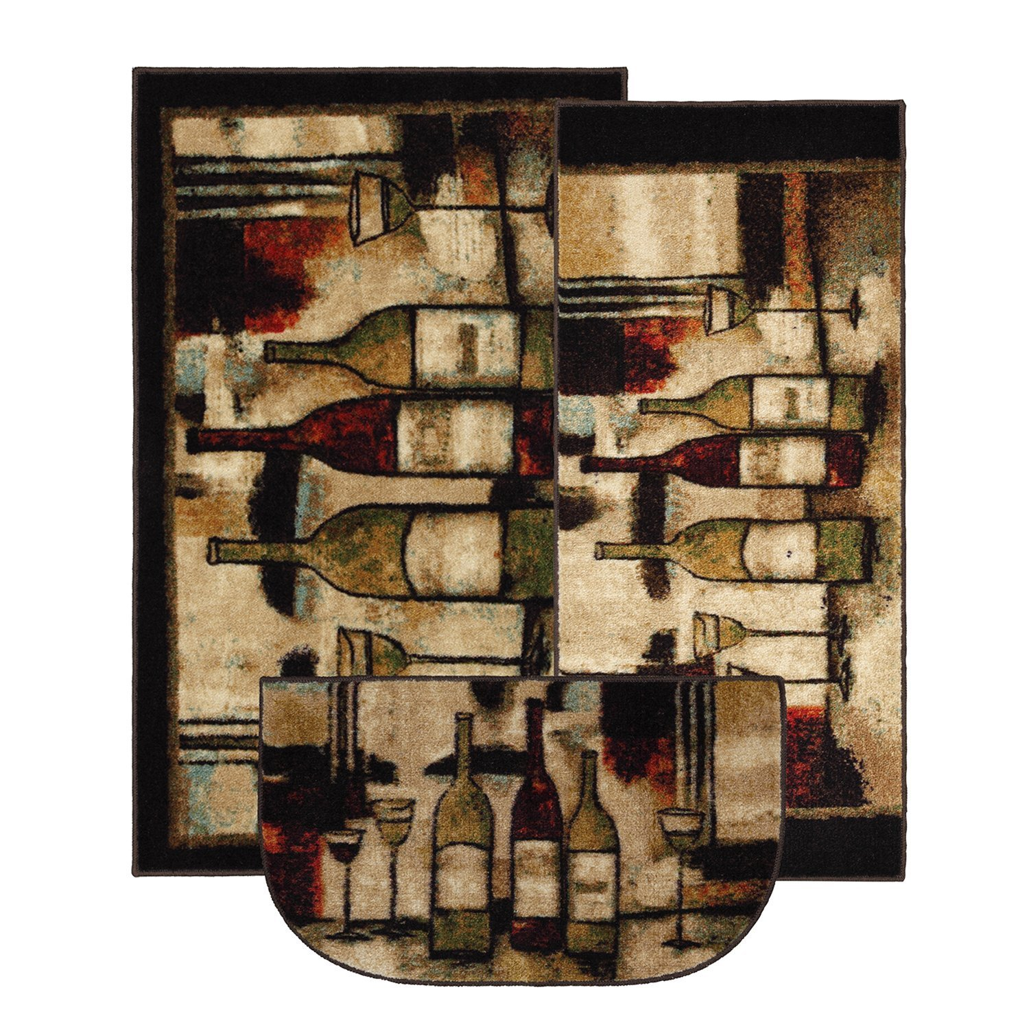 amazoncom mohawk home new wave wine and glasses printed rug 3piece rug set brown kitchen u0026 dining - Rug Sets