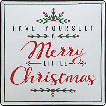 RAZ Imports Merry Christmas Sign Holiday Decor Christmas Signs Vintage Look Metal Sign Have Yourself A Merry Little Christmas