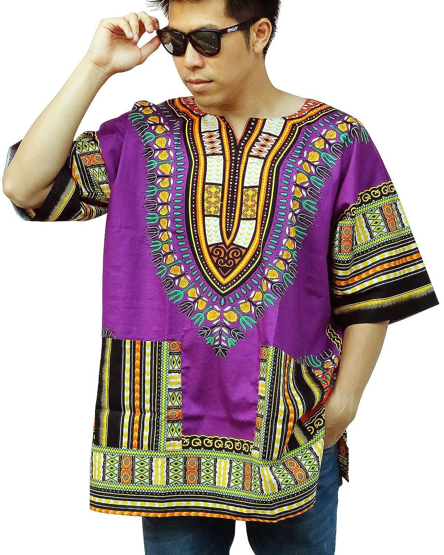 Ornatcha Pha Fai Brand New African Dashiki Shirt, Unisex, Cotton Shirt Cotton Shirt (PURPLE)