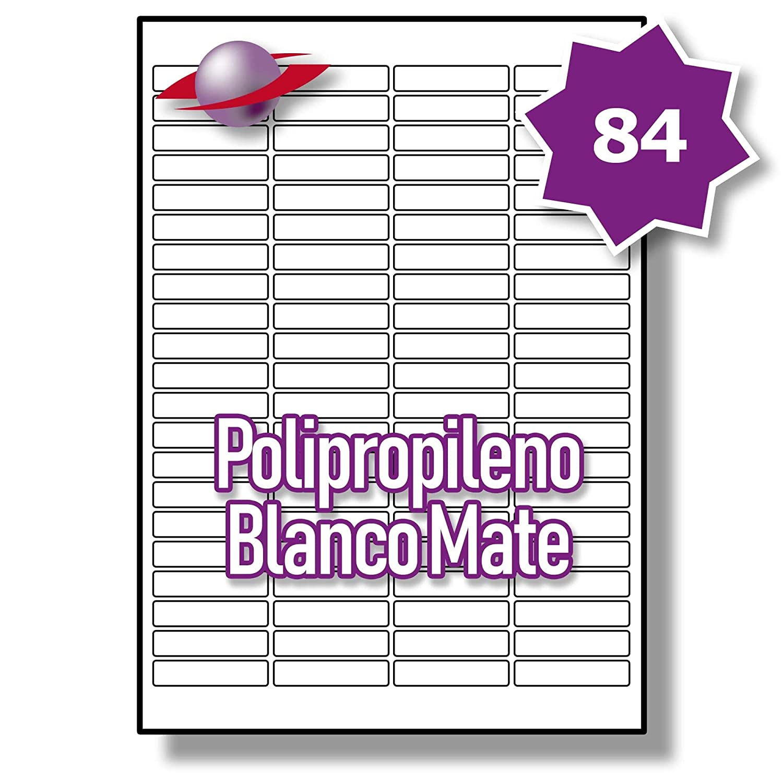 84 Par Hoja, 50 Hojas, 4200 Label Etiquetas. Label 4200 Planet 100% Resistente al Agua con Inyección de Tinta e Impresión Láser. Etiquetas de Polietileno Blanco Mate. 46 x 11.1mm, LP84/46 MWPP. 572e5e