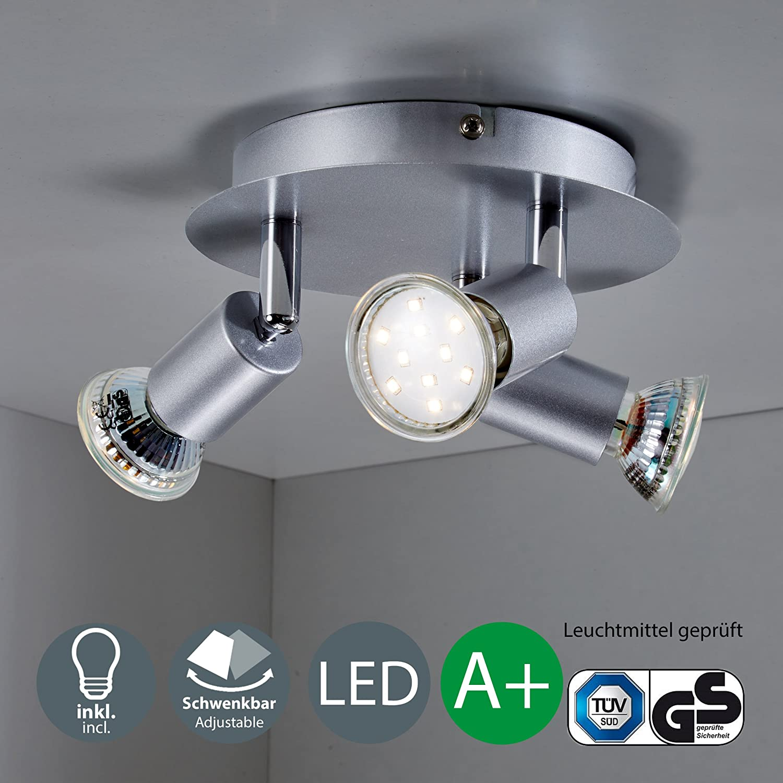 LED Ceiling Light I 3x LED GU10 3W I Modern design I rotatable spots I warm white light I living room I Kitchen light I Kid's room [Energy Class A+] B.K.Licht