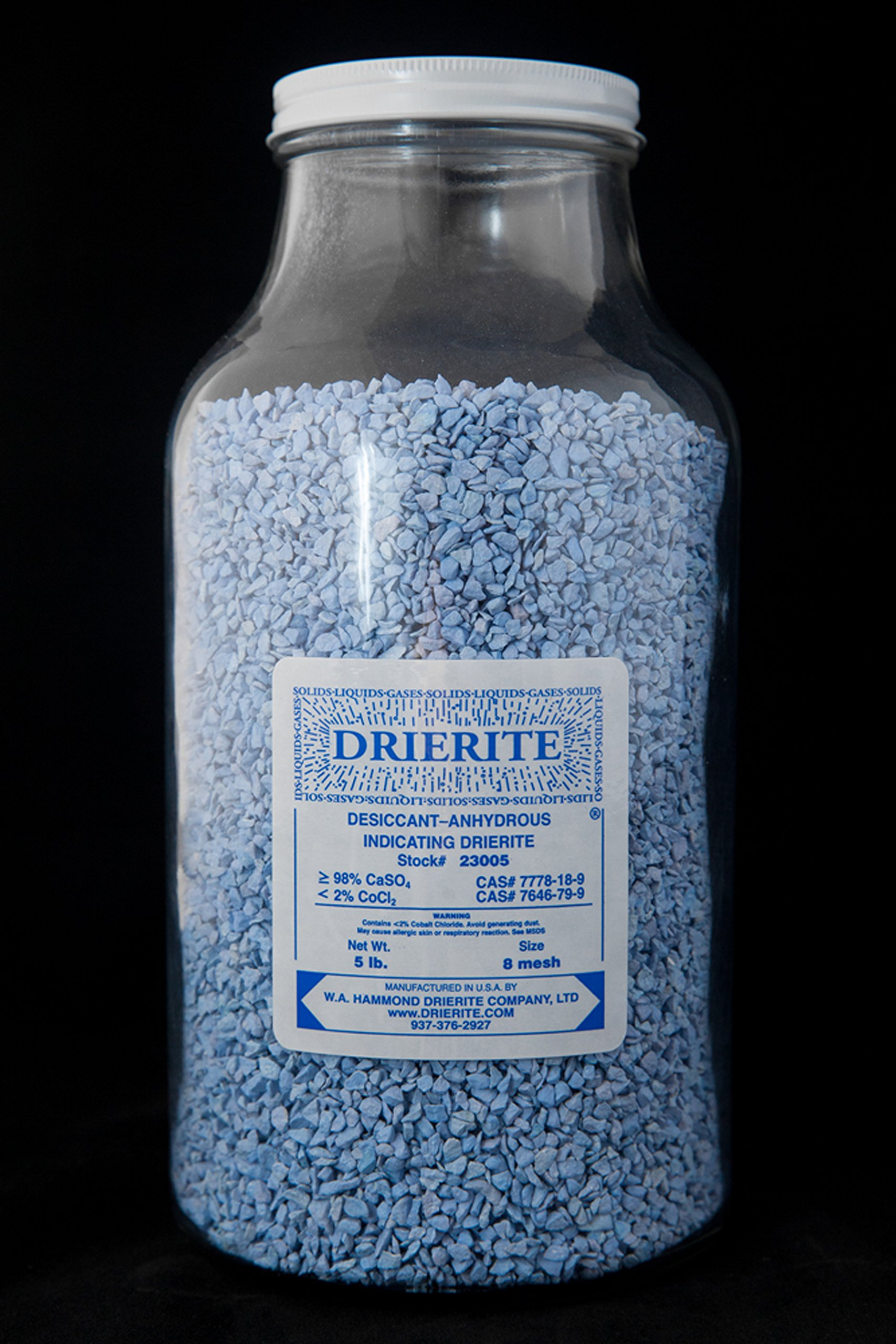 DRIERITE, 8 Mesh, Indicating Desiccant (Sold By Each - 5lb Bottle)