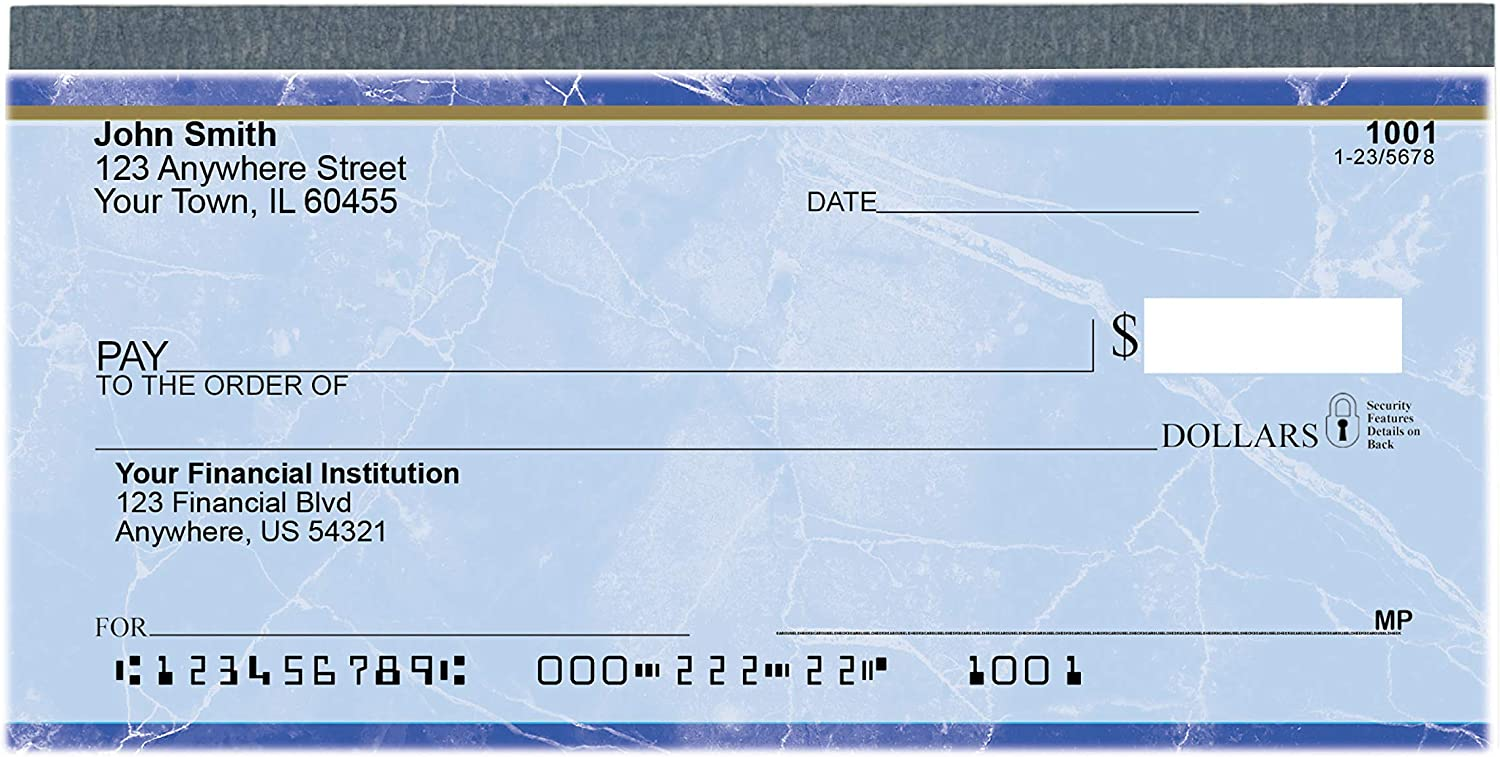 Value Price Blue Marble Top Tear Personal Checks (1 Box of Singles, Qty. 125) : Office Products