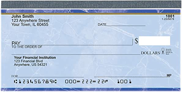Value Price Blue Marble Top Tear Personal Checks (2 Boxes of Duplicates, Qty. 200)