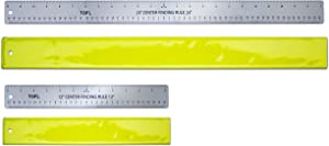 """Stainless Steel Center Finding Ruler - Set 1 Each 12"""" and 24"""" Rulers - Standard-Metric - Woodworking, Metal Work, Crafting, Drawing, scrapbooking layout, Cards, Photos, Lettering, DIY By TOFL"""