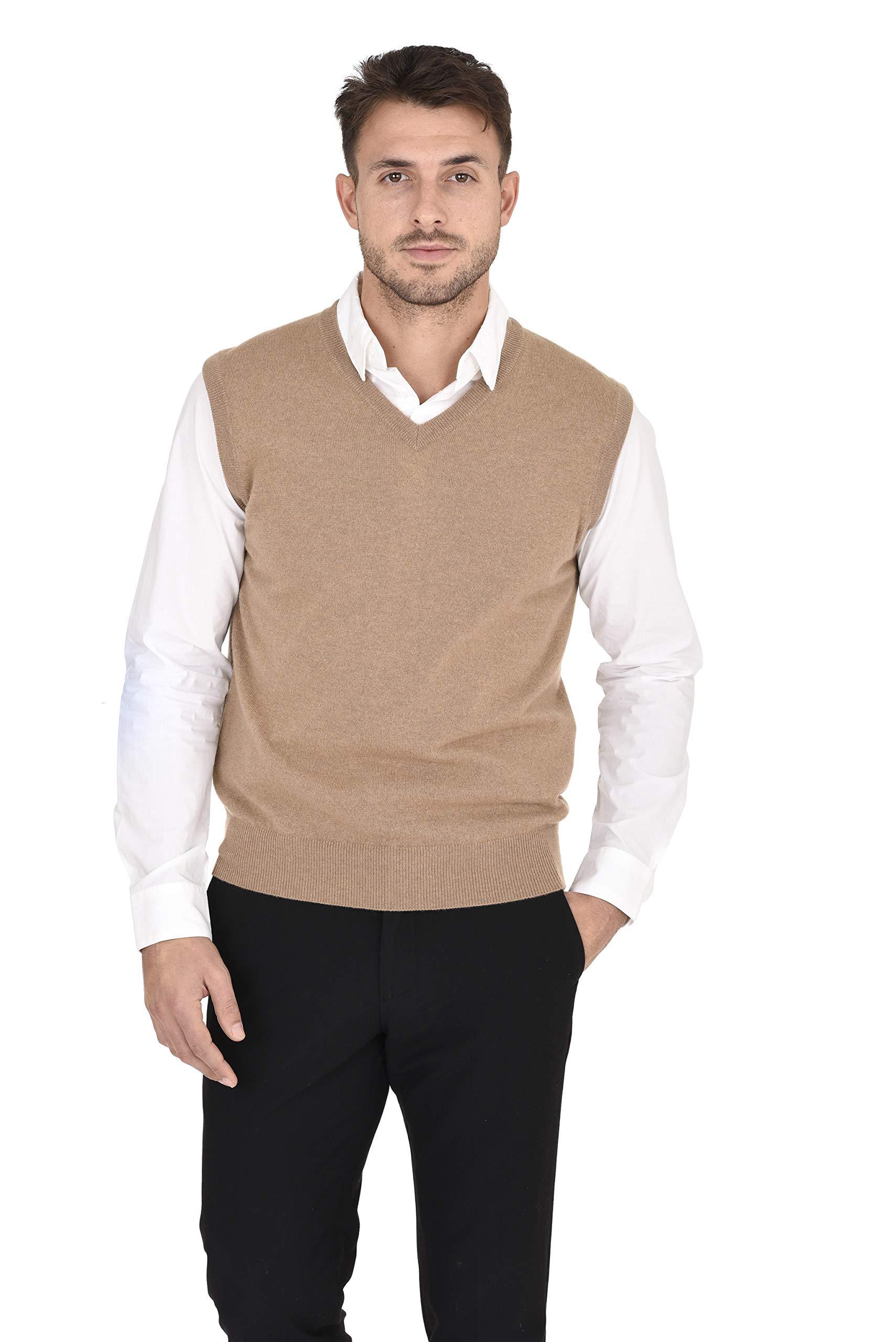 Cashmeren Men's Classic Knit Sleeveless Sweater Vest 100% Pure Cashmere V-Neck Pullover Gilet (Camel, X-Large) by Cashmeren