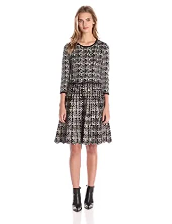 8ba3df829b6 Taylor Dresses Women s 3 4 Sleeve Printed Fit and Flare Sweater Dress with  Zig Zag