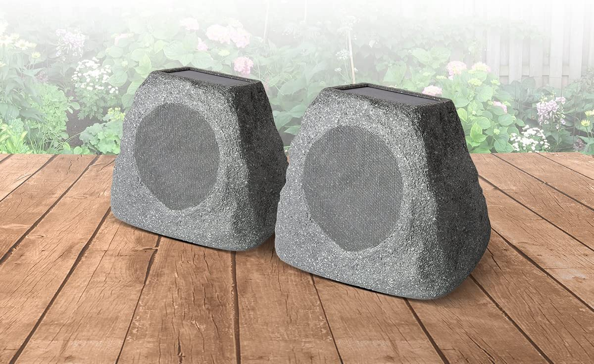 Pair Wireless Solar-Rechargeable Outdoor Speakers ION Audio Solar Stone