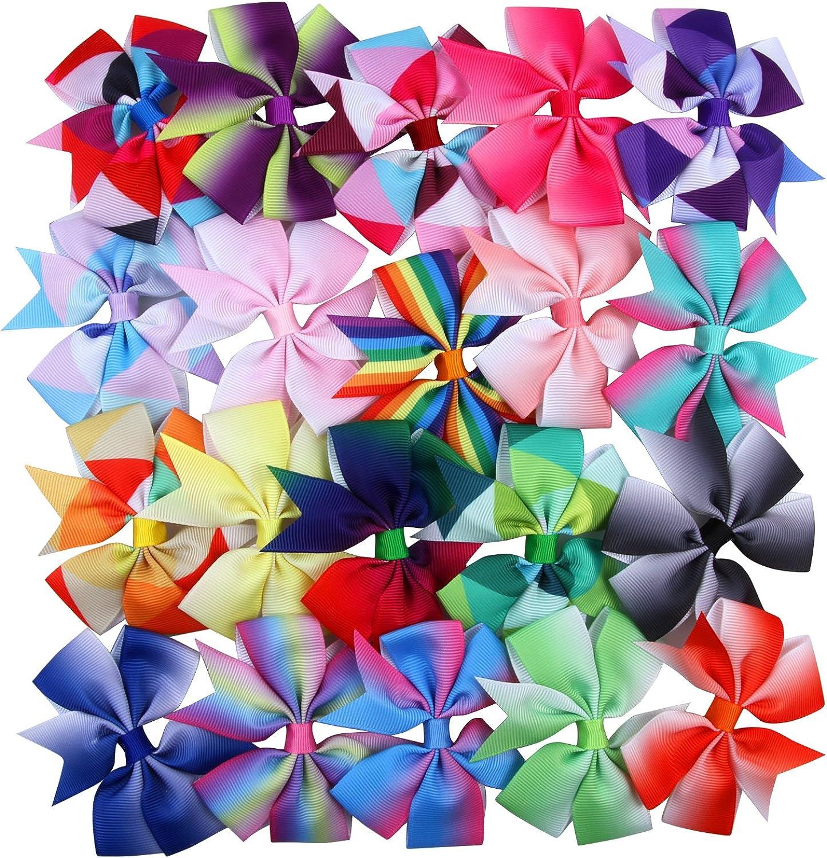 Rainbow daisy flower hair bowclip set 3 piece