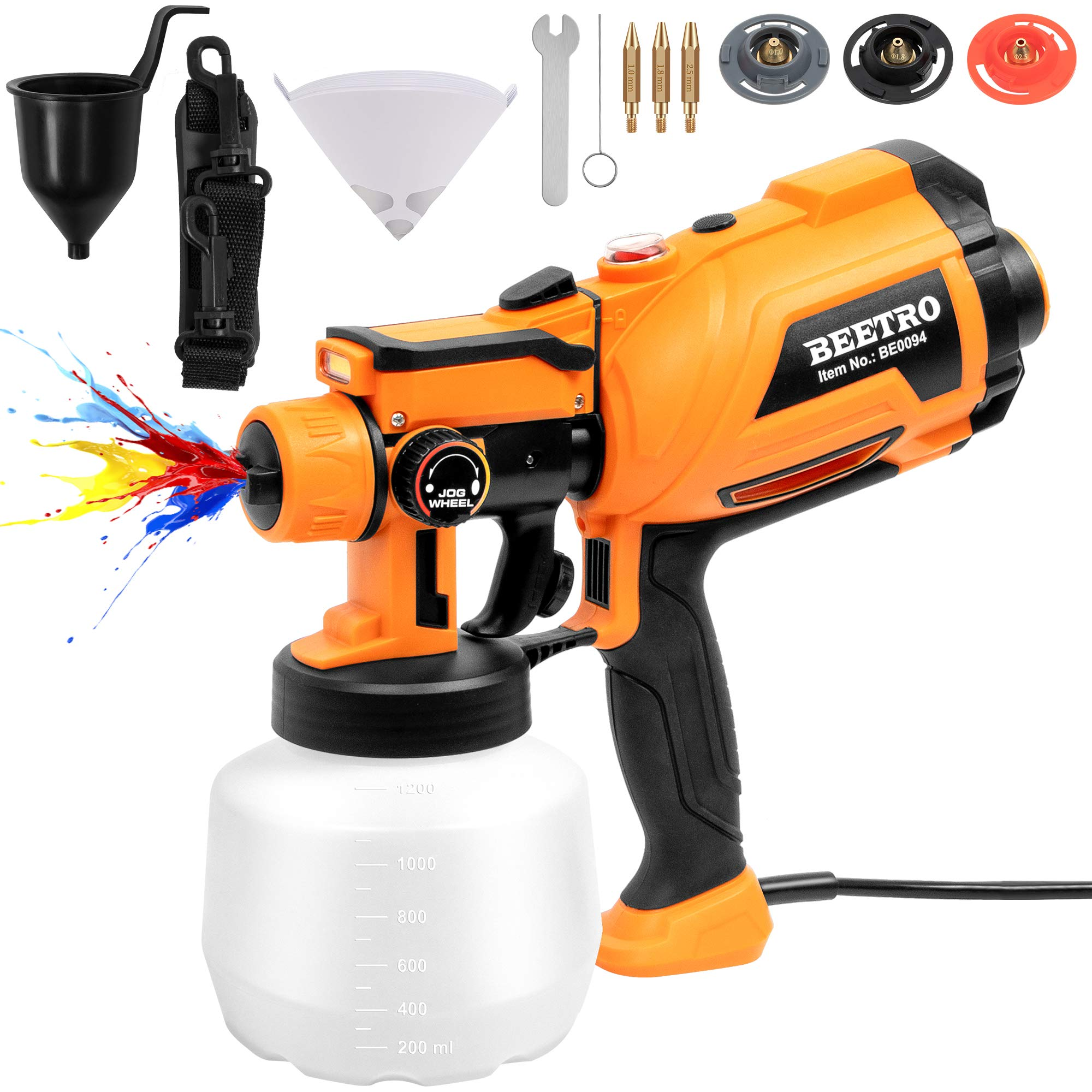 BEETRO Paint Spray Gun 550W High Power 450ml/min with 3 Premium Copper Nozzles and 10pcs 190 Micron Paint Strainers, 1200ml Container HVLP Electric Sprayer for Home Easy Spraying and Cleaning