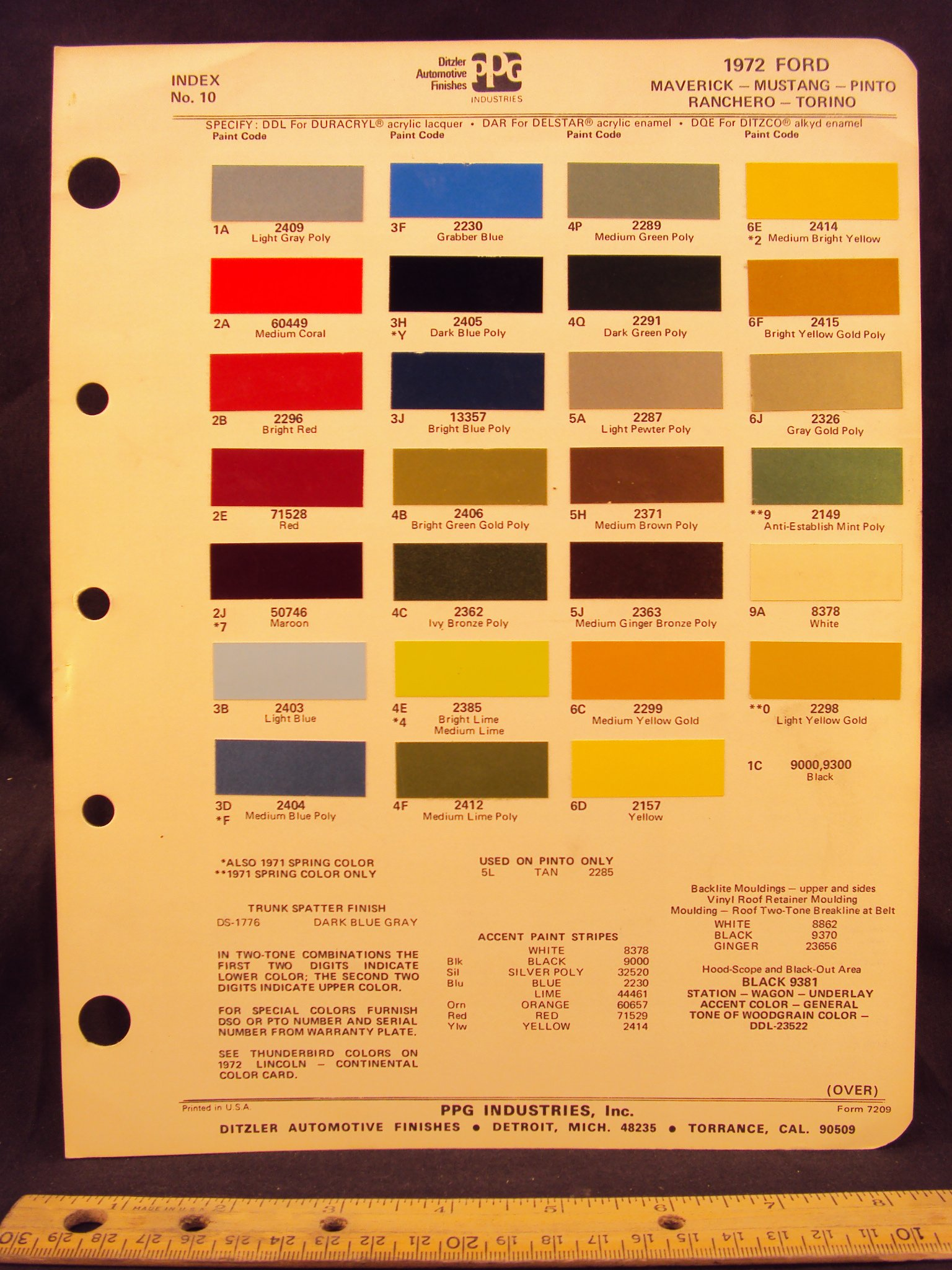 1972 ford maverick mustang pinto ranchero torino paint colors chip page loose leaf january 1 1972