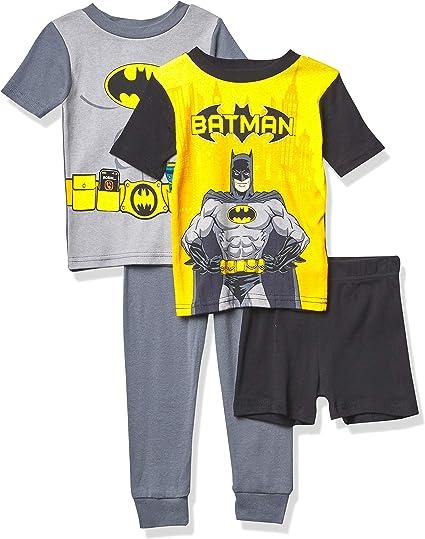 DC Comics Boys' Batman 4-Piece Cotton Pajama Set, NO Fear, 2T