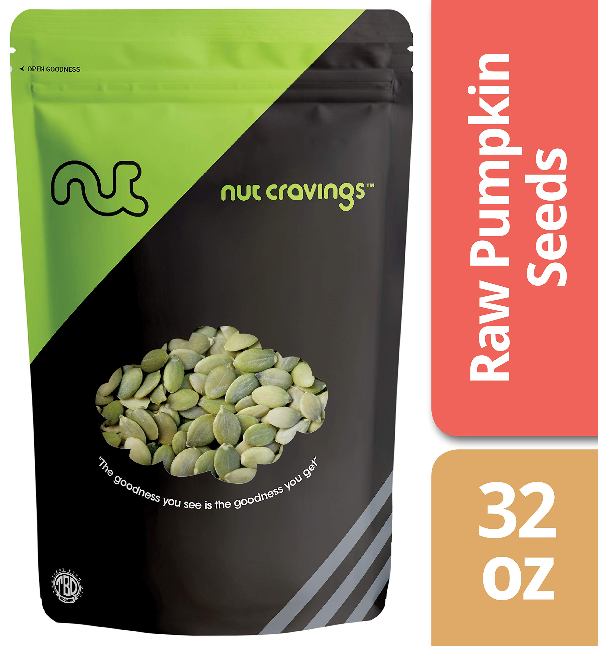Nut Cravings - Raw Organic Pumpkin Seeds (2 Pounds) - Raw Pepitas With No Shell - 32 Ounce by Nut Cravings