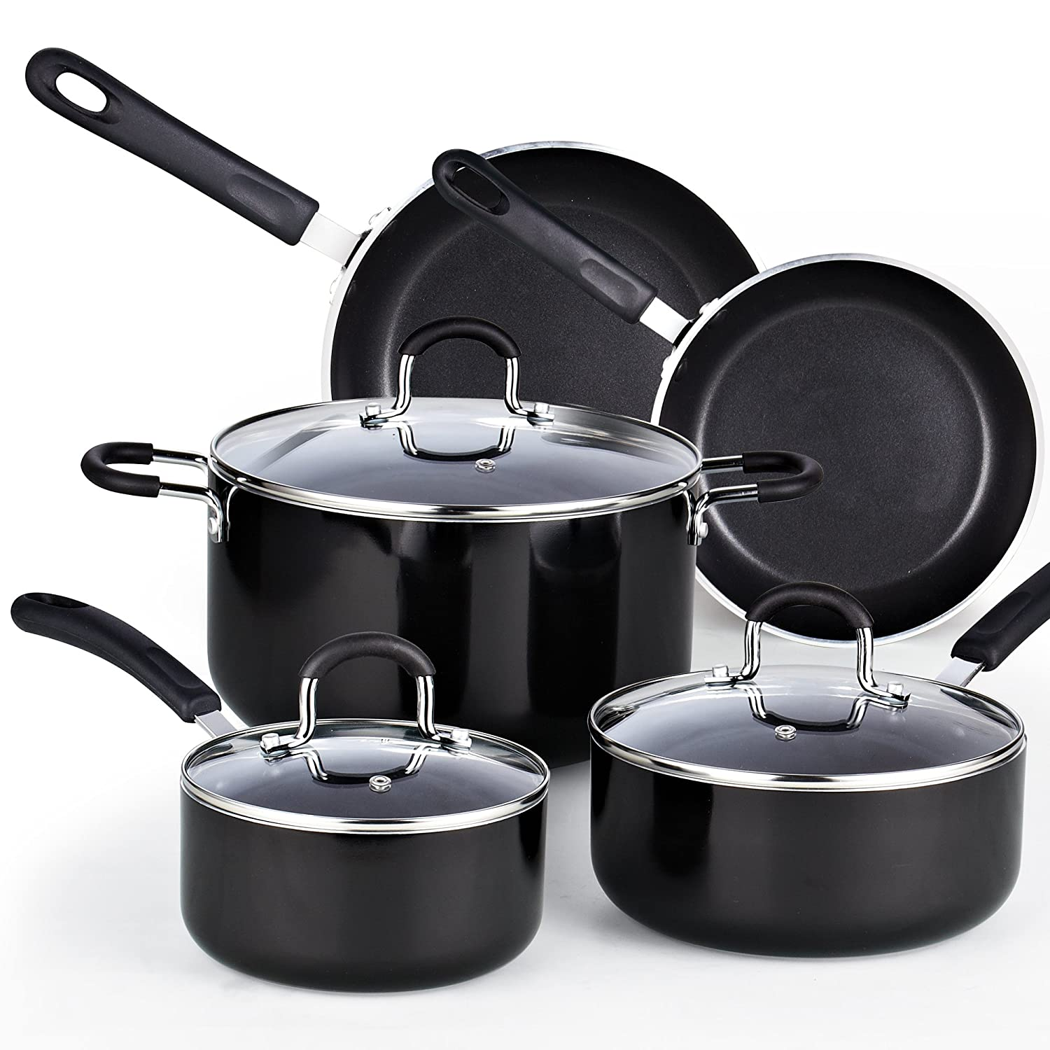 Cook N Home 8-Piece Nonstick Heavy Gauge Cookware Set, Black