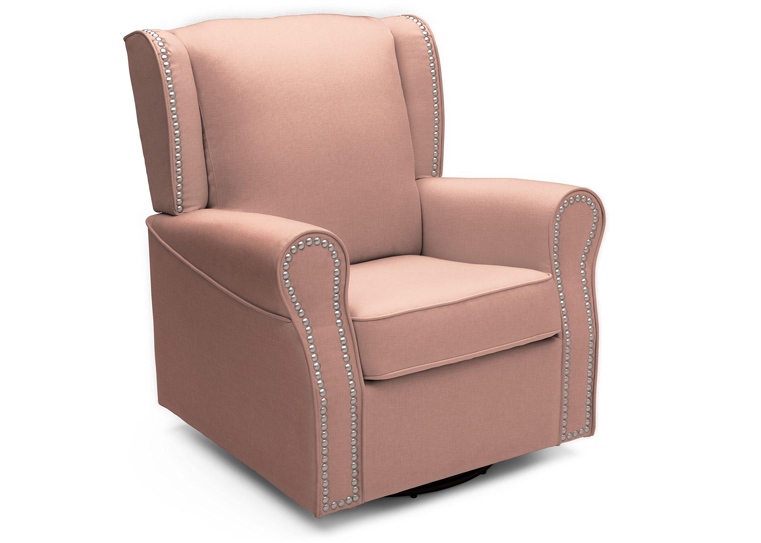 Delta Furniture Middleton Upholstered Glider Swivel Rocker Chair, Blush